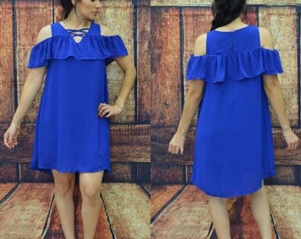 Cold shoulder royal blue dress