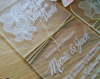 Frangipani wedding invitation SAMPLE. Acrylic Wedding invitation.  Modern laser etched wedding invitation. DL size.