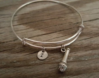 Microphone Bangle - Music Bracelet - Singer Gift - Band - Comedian Gift - Public Speaker - Motivational Speaker Gift - I/B/H