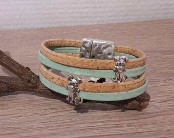Vegan Cork leather bracelet little Caesar dog