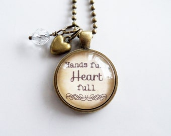 Family Necklace - Hands Full, Heart Full - Mother Jewelry - Mom Pendant - Mother's Day Gift - Text Jewelry - Custom Necklace - Grandma Nana