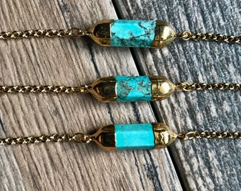 Turquoise Necklace,Gold Turquoise Necklace,Turquoise Jewelry,Modern Gemstone Necklace,Gift Necklace,Simple Choker Gold,Dainty Tube Necklace