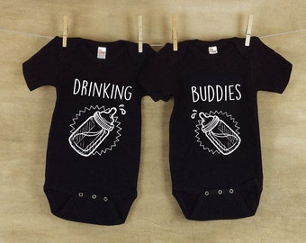 Drinking Buddies Baby Clothes - Matching Jumpsuits Jumpers Twins Baby Babies Expecting Mother To Be Gift Cute Baby Shower Gift
