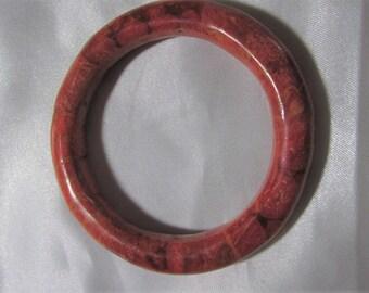 VINTAGE RED CORAL Bangle Bracelet, red sponge coral bracelet,  alexawolfonline