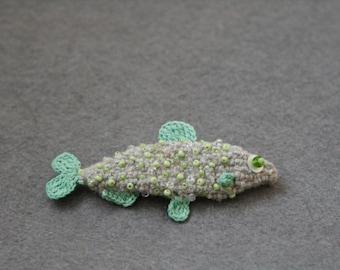 Little fish crochet brooch - whimsical jewelry