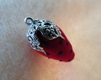 Sterling Silver Topped Sewing Needle Strawberry - Chatelaine Pin Cushion
