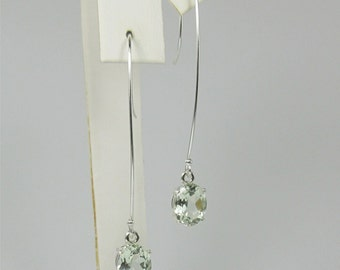 Prasiolite Green Amethyst 9x7mm 3.30ctw Sterling Silver Drop Earrings