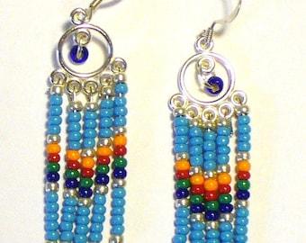 Turquoise Seed Bead Chandelier Earrings