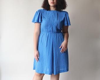 plus size dress | blue polka dot dress, US size 12-14