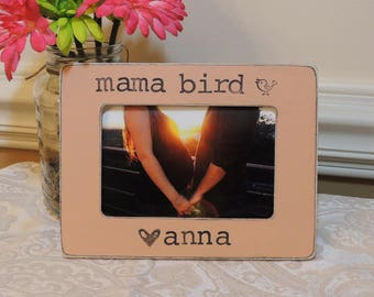 Mama bird Mom to be gift for mom mommy Mama bird picture frame Mother's day gift Pregnancy Expecting mom gift Personalized photo frame