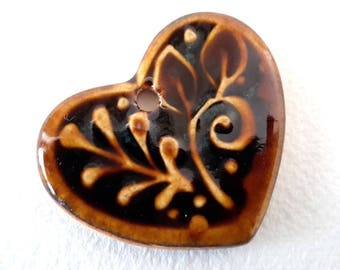 Brown Heart Pendant // Gift Tag // Heart Bead // Heart Pendant with Leaves // Brown Focal  Bead // SmallOrnament // Valentine bead