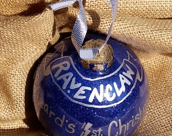 Harry Potter Christmas Ornament — Hogwarts Houses — Baby's First Christmas — Ravenclaw Ornament — Ravenclaw House Ornament — Personalized