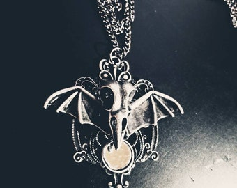 Gothic winged bird skull chain necklace