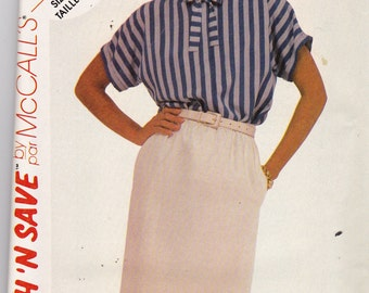 McCalls 2016 Vintage Patttern Womens Straight Skirt and Top Size 12,14,16 UNCUT