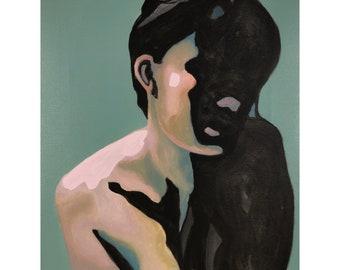 Portrait - modern, decorative art, figurative painting, girl in shadow, artwork