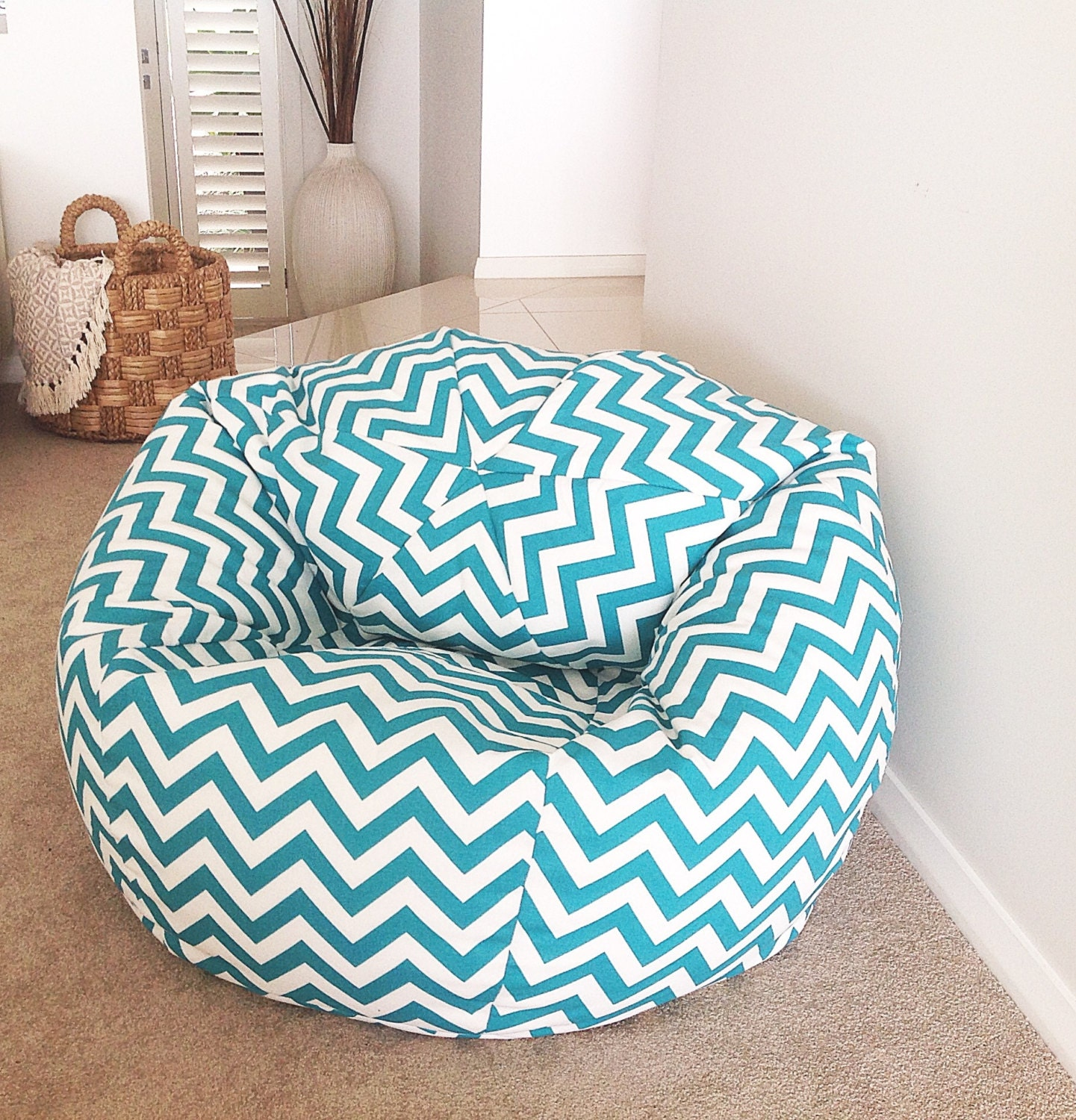 Chevron Bean Bag Cover Adults Kids Turquoise Zig
