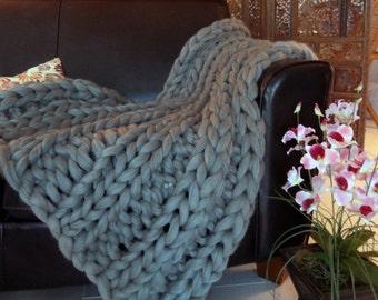 Smoosh Throw Blanket, Super Chunky Blanket, 30x50 Pure Merino Wool, knit blanket, chunky throw,