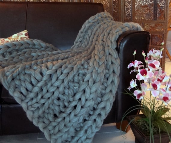 Smoosh Throw Blanket, Super Chunky Blanket, 30x50 Pure Merino Wool, knit blanket, chunky throw,
