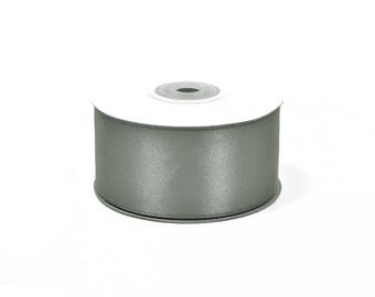 25 meters of 38 mm wide grey satin ribbon dark ref 77