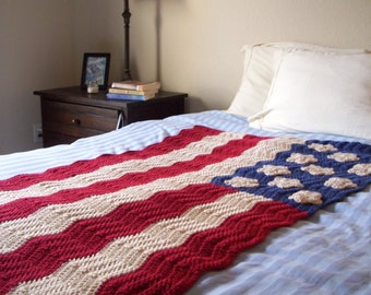 Crochet American Flag Afghan   38x56 Ripple Flag Blanket   Antique Colored American Flag Throw
