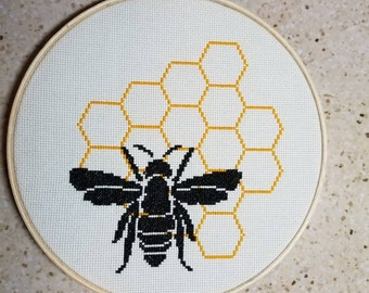 Bee and Honeycomb Cross Stitch completed and framed