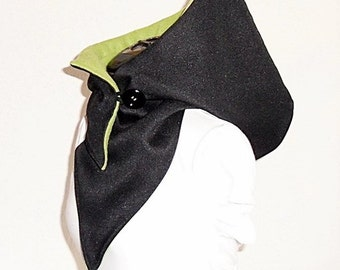 Hooded Scarf - Woven black / apple green