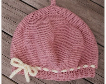 Download Now - CROCHET PATTERN Pleated Beret - Sizes Baby to Adult - Pattern PDF