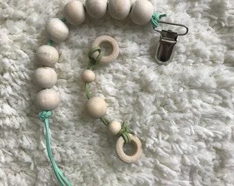 BABY GIFT SET wooden teething pacifier clip bracelet