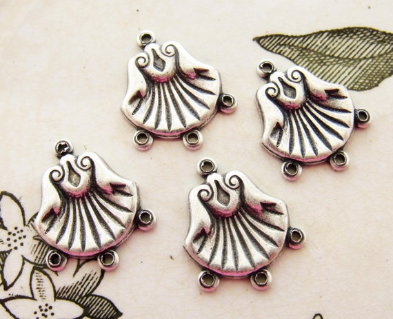 Antiqued Silver Ox Shell Chandelier Earring Connector Findings