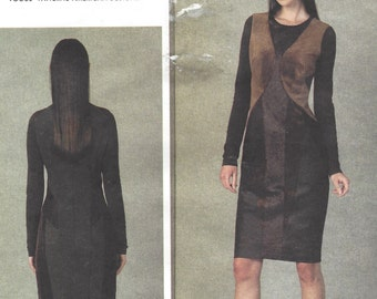 Donna Karan Womens Bias Cut Dress OOP Vogue Sewing Pattern V1409 Size 14 16 18 20 22 Bust 36 to 44 UnCut Stretch Knits Only