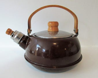 """Charming Vintage Enamel Brown Teapot Kettle with Wooden Handle 9"""" Long 7.5"""" Tall"""
