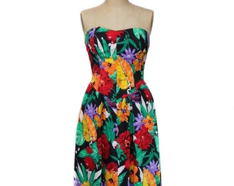 vintage 1980's strapless floral dress / dark floral / cotton blend / party dress / 50s style dress / women's vintage dress / size medium