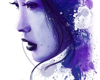Woman Face Beauty Asian Profile Watercolor, ink, Violet and Blue