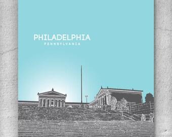 Modern Home Decor / Philadelphia Skyline / Home Office Art Poster / Any City or Location / Version 3