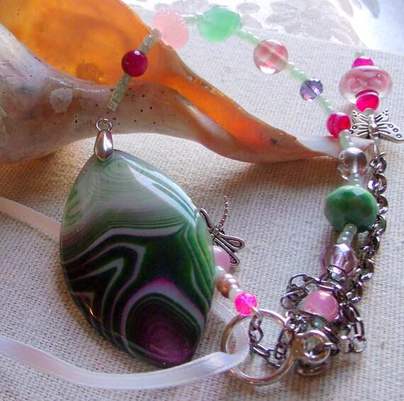 Gemstone ornament - window hanging stone - agate pendant - green hostess gift - unique window charm - sun catcher -dragonfly - garden gift