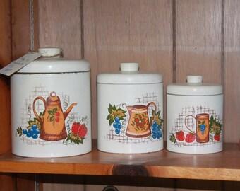 Vintage Canister Set, Vintage White Ransburg Canister Set