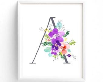 Purple Floral Printable Letter A Monogram, Floral, Grey letters,  Flower Lettering, Nursery, Plum, Purple, Baby monogram