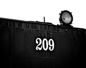 Train Wall Decor, Steam Train Photo, Old train Photo, Black and White Photo, Art for Boy's Room, No. 209 Spotlight