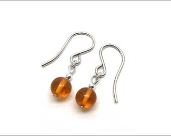 Amber - Round Drop Earrings - 6mm
