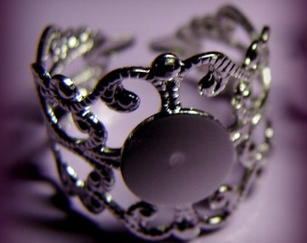 blank ring bases pretty silver filigree