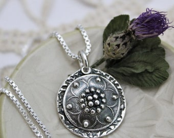Round Domed Flower Necklace