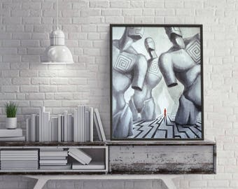 Path - Pop Surrealism Fine Art Oil painting 23,5x27,5 inch