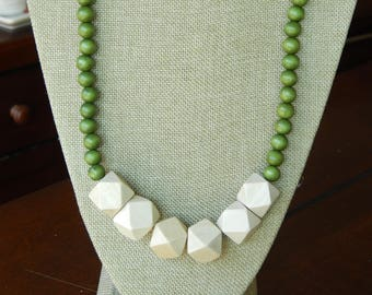Chunky wood bead necklace, beach chic, layering necklace, geometric beads, olive green and beige, long necklace, natural wood necklace