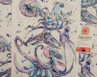 Octopus fantasy art print, Sea life art, Home decor, Cephalopod art, Marine life art, squid, gift for him, gift for her, nautical art