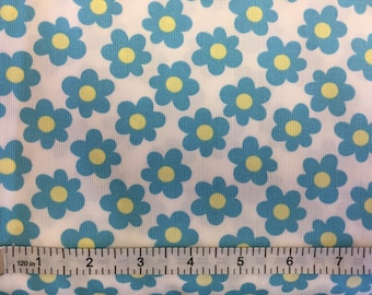 """60"""" Wide Turquoise Flowers on White  Pique Fabric by Fabric Finders"""