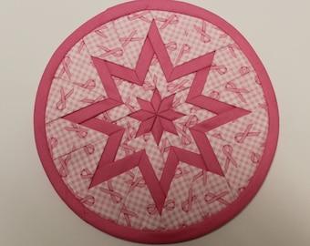 Pink Breast Cancer Ribbon Folded Star Hot Pad, Trivet, Potholder