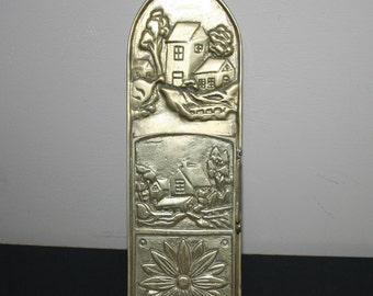 Solid Brass Match Holder for Long Matches, Vintage Wall Mount Brass Match Holder