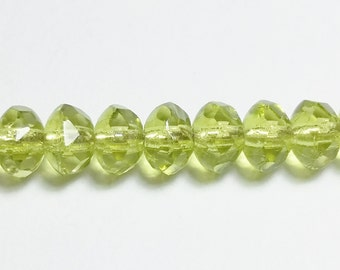 60pcs Olive Green Spacer Beads - Czech Glass Beads - Rondelle Beads - Glass Beads - Transparent Faceted Beads - 3x5mm - GB392