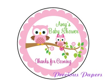 """20 - 2"""" round Personalized PRINTED pink owl baby shower sticker pink owl baby shower favor stickers"""