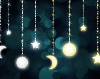 Celestial Clipart - Moon and Stars Bokeh Strings Clip Art, Night Sky, Starry Sky, Digital Bokeh Background Instant Download Commercial Use